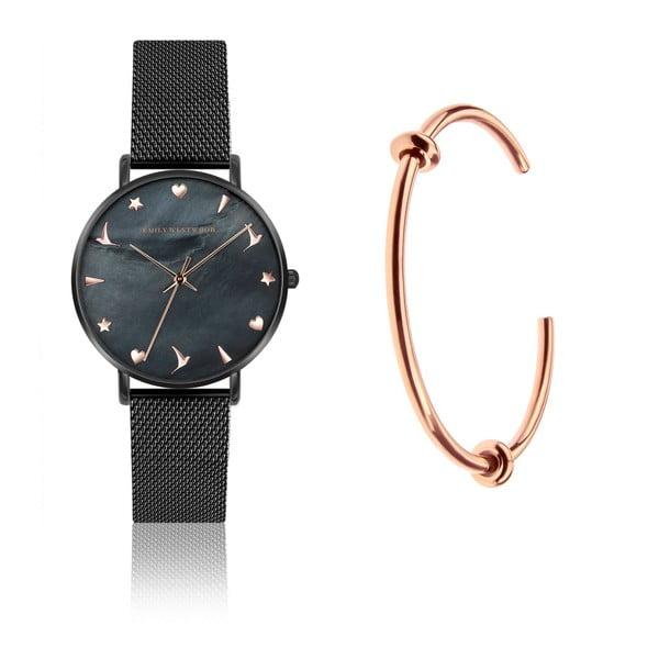 Zestaw damskiego zegarka z nierdzewnym paskiem w czarnym kolorze i bransoletki Emily Westwood Minza