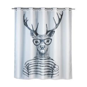 Bílý sprchový závěs s protiplísňovou povrchovou úpravou Wenko Mr. Deer, 180x200cm