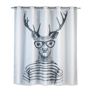 Perdea duș anti mucegai Wenko Mr. Deer, 180x200cm, alb imagine
