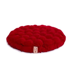 Pernă relaxare cu bile de masaj Lindy Vrňáková Bloom, Ø 65 cm, roșu închis