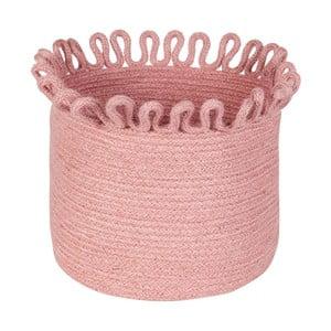 Růžový ručně vyrobený úložný jutový koš Nattiot Omala