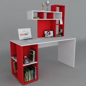 Pracovní stůl Coral White/Red, 60x140x153,8 cm