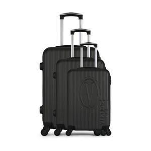 Sada 3 tmavě šedých cestovních kufrů na kolečkách VERTIGO Cadenas Integre Roues