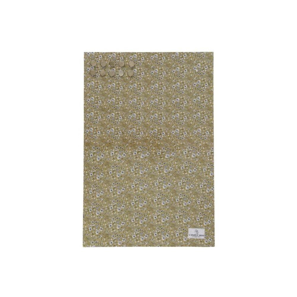 Kovová tabule na vzkazy A Simple Mess Paule Golden Yellow, 40x60cm A simple Mess
