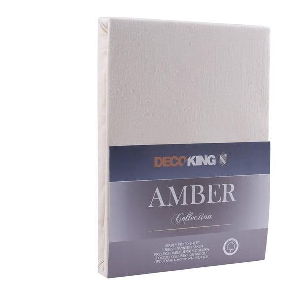 Krémové elastické bavlněné prostěradlo DecoKing Amber Collection, 140-160 x 200 cm
