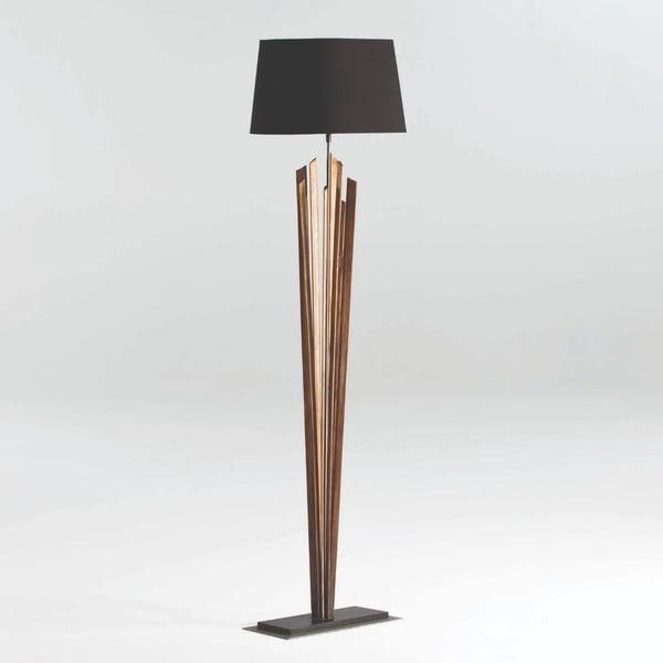 Dřevěná volně stojící lampa s černým stínidlem Thai Natura, výška 147cm