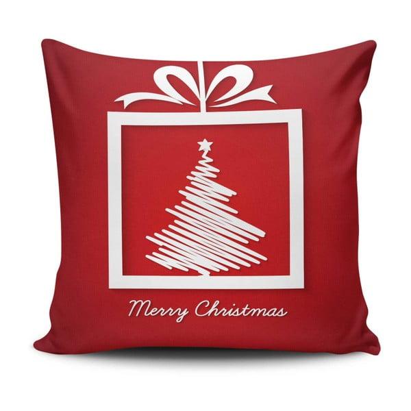 Merry Christmas piros párna, 45 x 45 cm