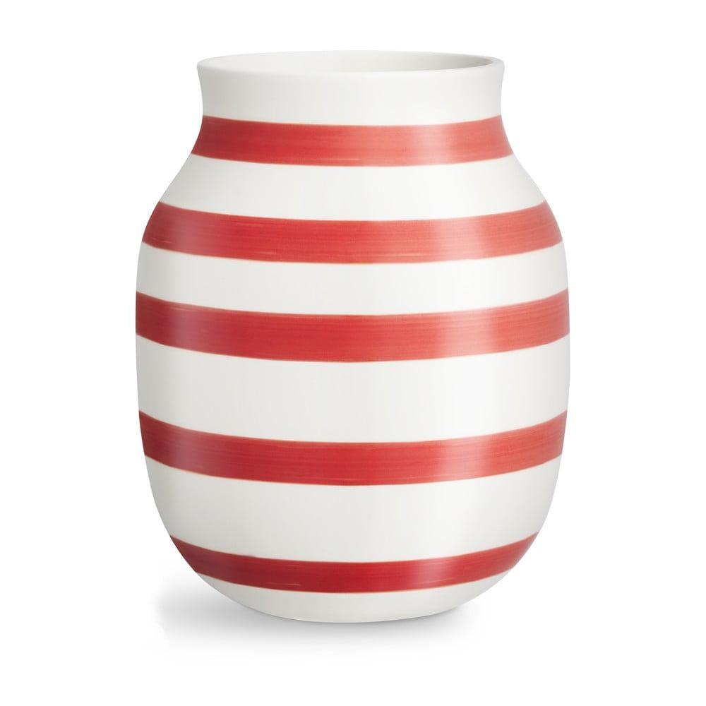 Bílo-červená pruhovaná keramická váza Kähler Design Omaggio, výška20,5cm