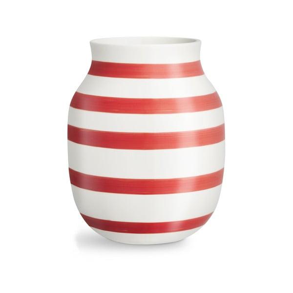 Vază din ceramică Kähler Design Omaggio, înălțime 20,5 cm, alb-roșu