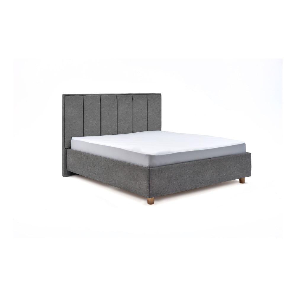 Světle šedá dvoulůžková postel s roštem a úložným prostorem ProSpánek Wega, 180 x 200 cm