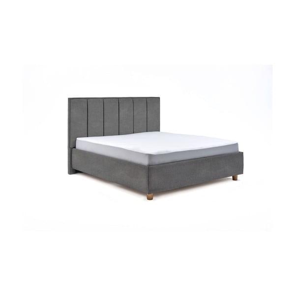 Světle šedá dvoulůžková postel s roštem a úložným prostorem ProSpánek Wega, 160 x 200 cm
