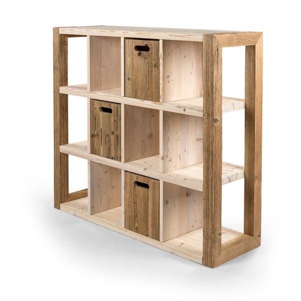 Etajeră din lemn cu rafturi deschise la culoare Antique Wood, lățime 133,5 cm