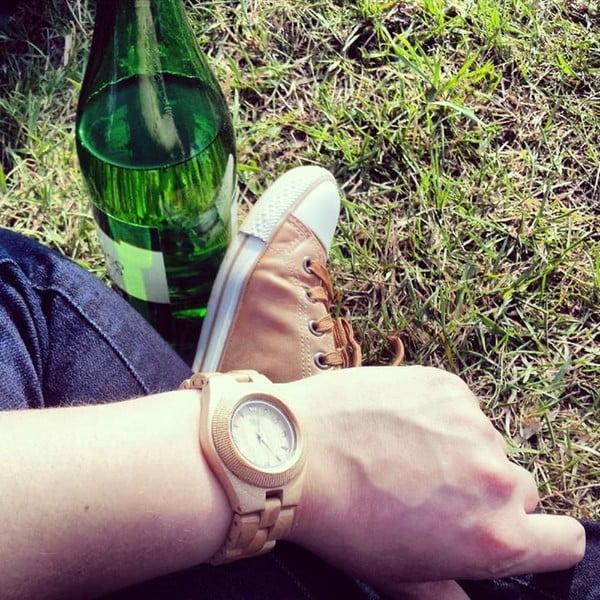 Dámské dřevěné hodinky Odyssey Beige