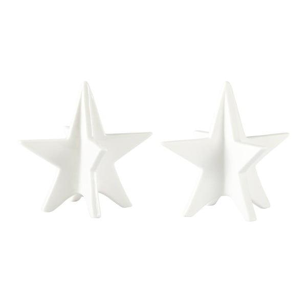 Sada 2 dekorativních hvězd KJ Collection White Matt, 13 cm