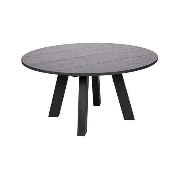 Čierny jedálenský stôl z dubového dreva WOOOD Rhonda, ⌀ 150cm