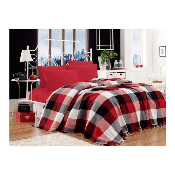 Set bavlněného přehozu přes postel, prostěradla a 2 povlaků na polštář Iskoc Red Black White, 200 x 240 cm