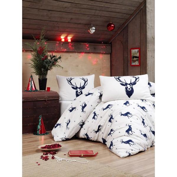 Povlečení s prostěradlem s příměsí bavlny na dvoulůžko Eponj Home Geyik Dark Blue, 200 x 220 cm
