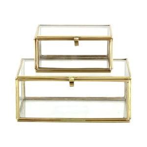 Set 2 skleněných boxů Brass