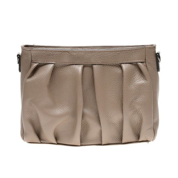 Béžová kožená taška cez rameno Luisa Vannini