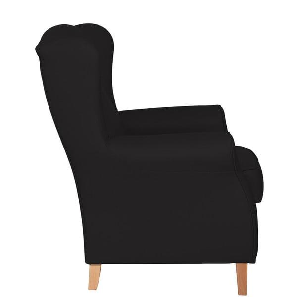 Černé křeslo ušák Max Winzer Lorris Leather Black
