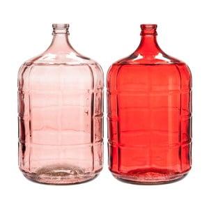 Sada 2 skleněných váz J-Line Glass Stripe, 26 x 50 cm