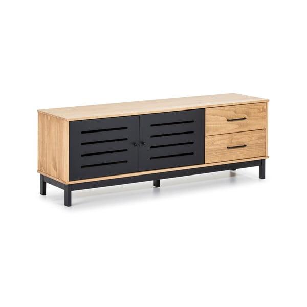 TV komoda s drevenou konštrukciou a čiernymi detailmi Marckeric Alessia