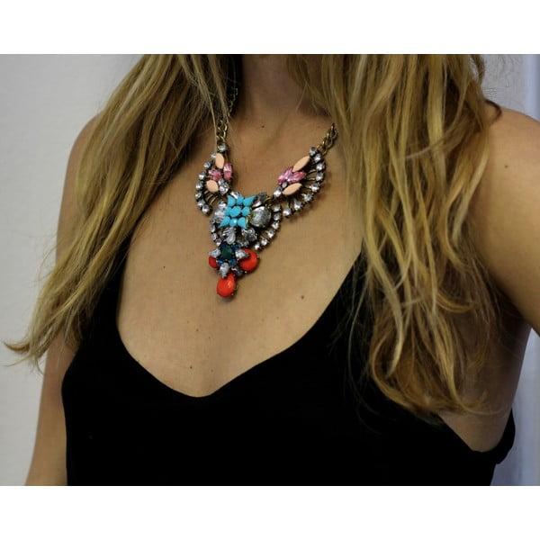 Náhrdelník s čirými a růžovými krystaly