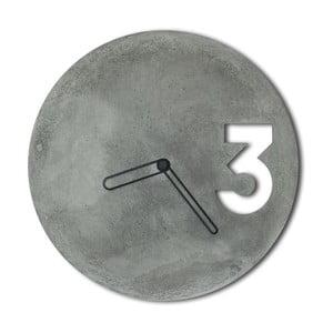 Betonové hodiny od Jakuba Velínského, ohraničené černé ručičky