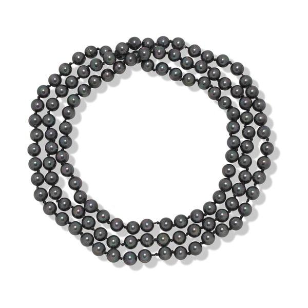 Šedý perlový náhrdelník Mara de Vida Long Night, délka 90cm