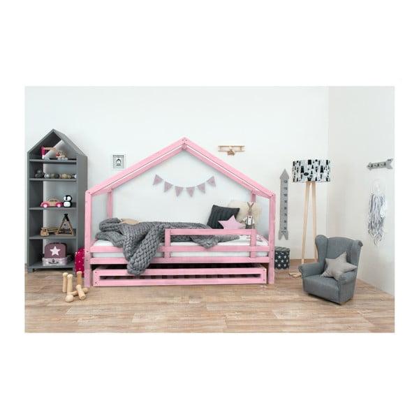 Růžová dětská postel z lakovaného smrkového dřeva Benlemi Sidy, 120 x 160 cm