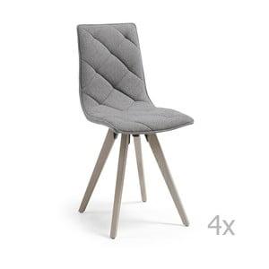 Set 4 scaune cu picioare de lemn La Forma Tuk, gri