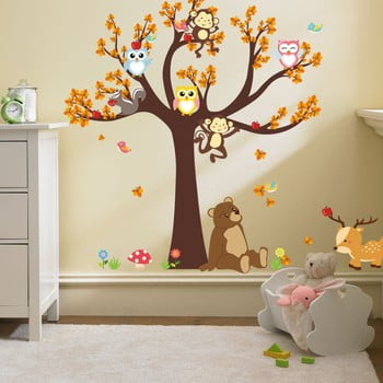 Autocolant pentru camera copiilor Ambiance Tree with Animals