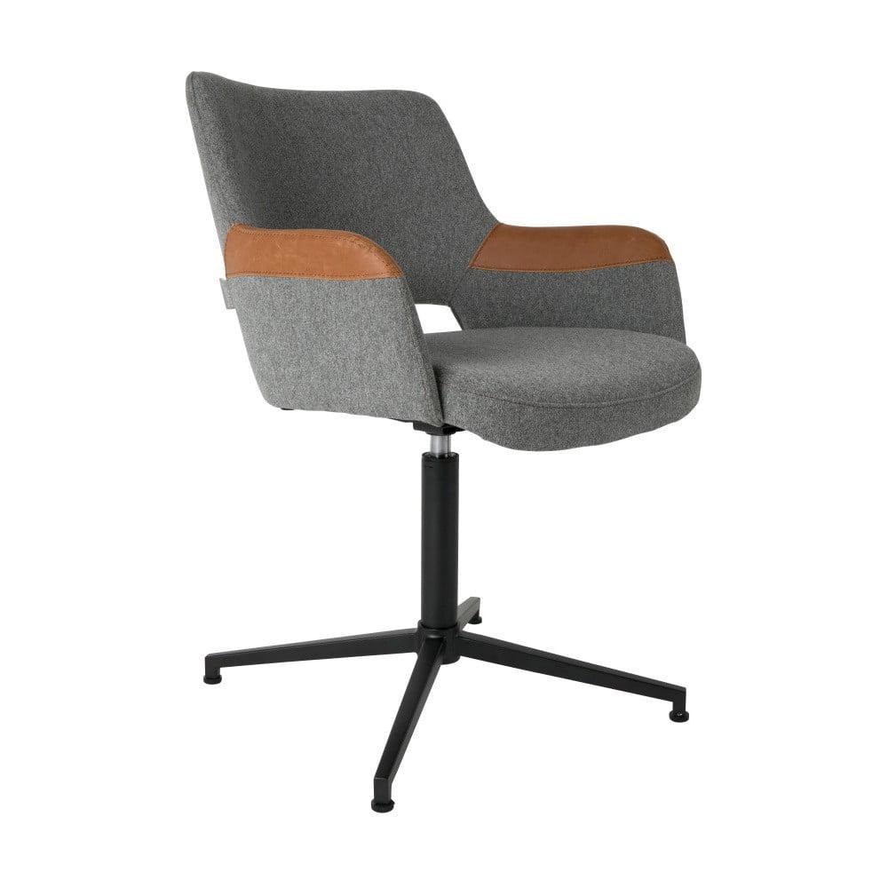 Šedá kancelářská židle s hnědým detailem Zuiver Syl
