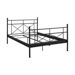 Černá kovová dvoulůžková postel Støraa Tanja, 140x200cm