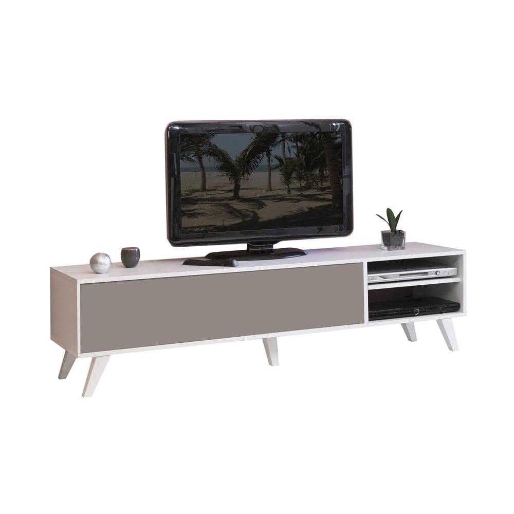 Šedohnědý televizní stolek s bílým korpusem Symbiosis Prism