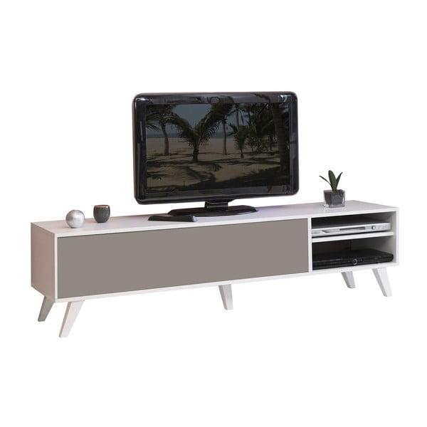 Szaro-brązowa szafka pod TV z białym korpusem Symbiosis Prism