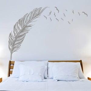 Samolepka na stěnu Pírko a ptáci, 70x50 cm