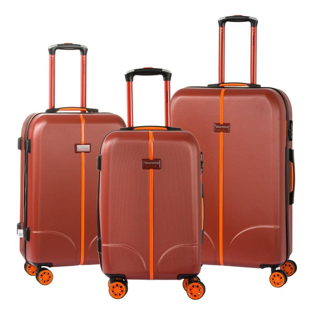 Sada 3 červených cestovních kufrů na kolečkách Murano Greece