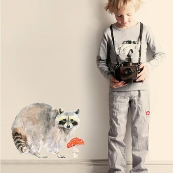 Autocolant refolosibil Raccoon, 40x30 cm