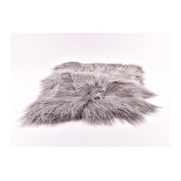 Šedý kožešinový koberec s dlouhým chlupem, 90x80cm