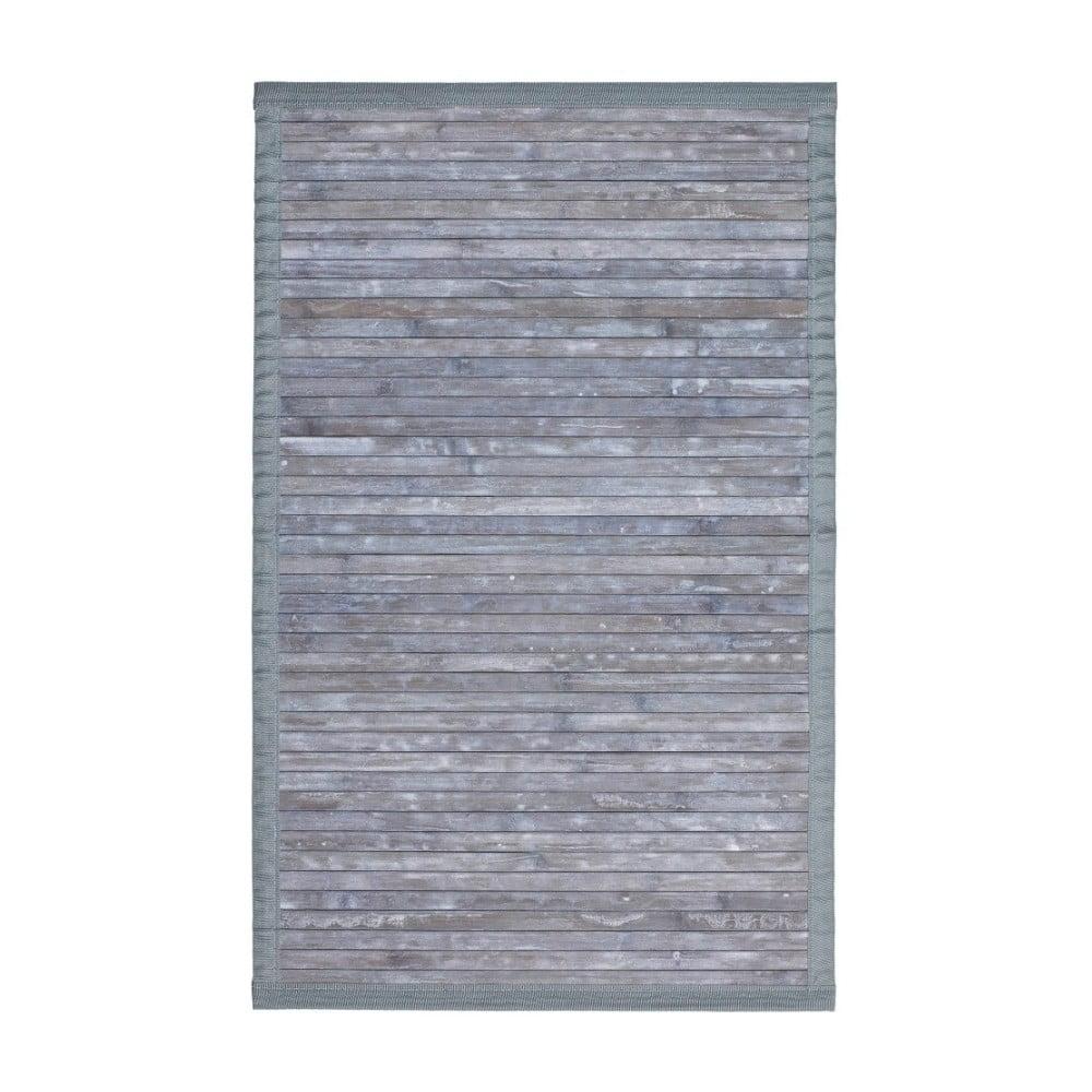 Šedá koupelnová předložka z bambusu Wenko Thea, 80 x 50 cm