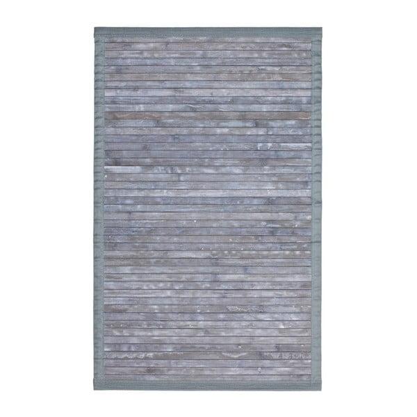 Šedá koupelnová předložka z bambusu Wenko Thea, 80x50cm