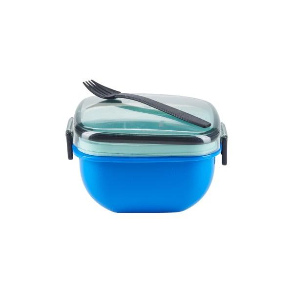 Modrá svačinová krabička s vidličkou Bahne & CO