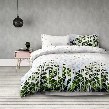 Lenjerie de pat din microfibră AmeliaHome Explosion, 200 x 200 cm + 80 x 80 cm, alb - verde