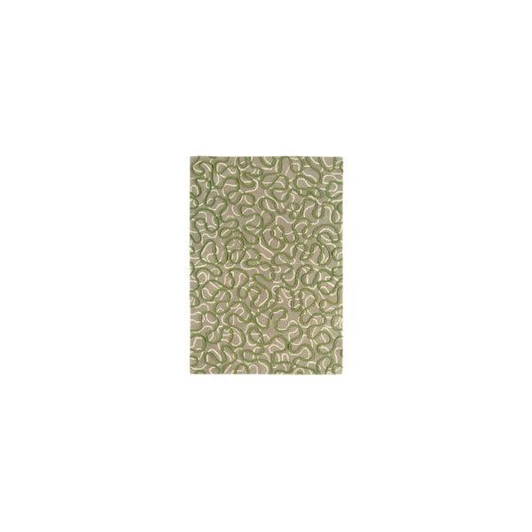 Vlněný koberec Squiggle Green, 120x170 cm