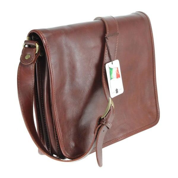Hnědá kožená taška Chicca Borse Norma
