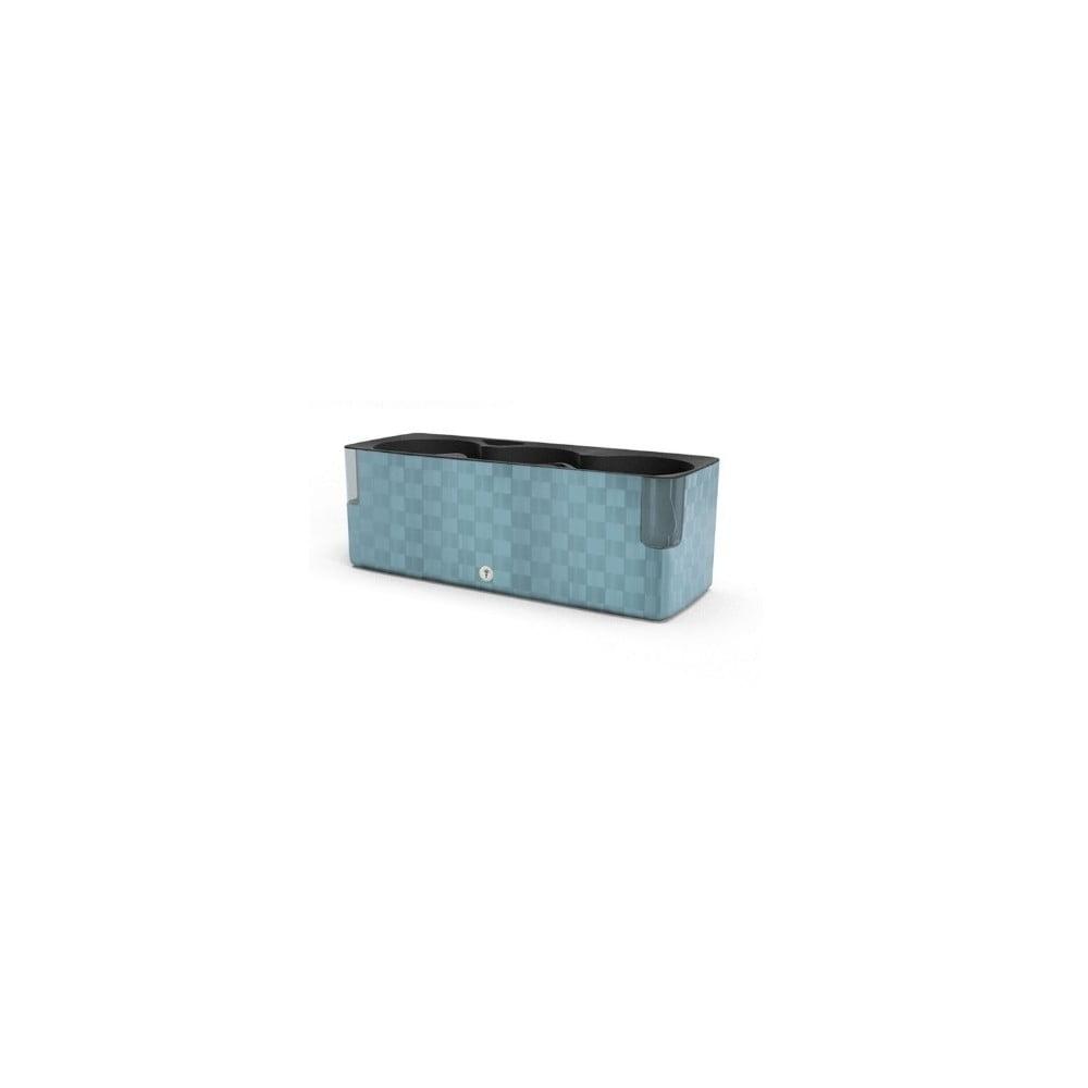 Ocelově modrý květináč Flower Lover Cobble Trio, 40x14cm