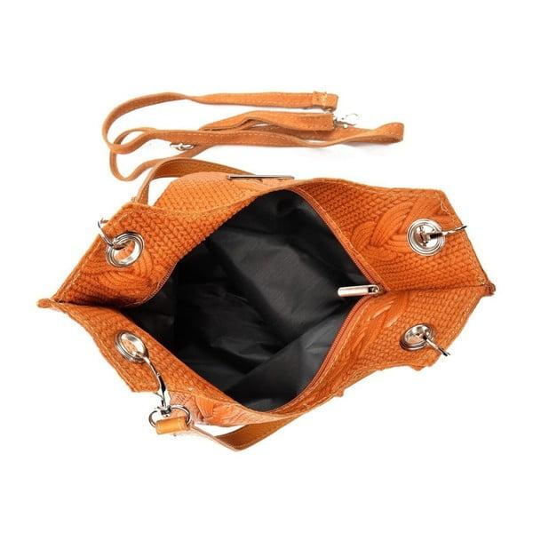 Koňakově kožená kabelka Mangotti Bags Lidia