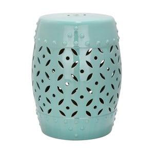 Tyrkysový keramický stolek vhodný do exteriéru Safavieh Lattice Coin