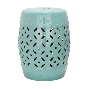 Tyrkysový keramický stolek Safavieh Lattice Coin Blue